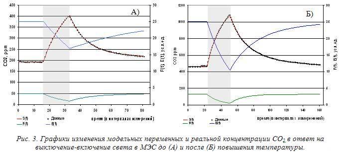 Рис. 3. Графики изменения модельных переменных и реальной концентрации СО2 в ответ на выключение-включение света в МЭС до (А) и после (Б) повышения температуры.